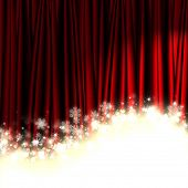Christmas red theater curtain with stars