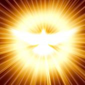 pic of pentecostal  - shining dove with rays on a dark golden background - JPG