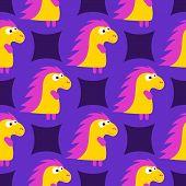 Cartoon Pattern With Yellow Cartoon Baby Dinosaur Pattern On Purple Background. Dinosaur Baby Girl C poster
