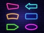 Neon Banners Set. Color Neon Frames On Brick Wall. Realistic Glowing Night Signboard. Shining Neon E poster