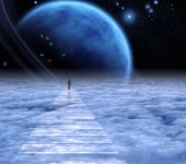Figure of a man on sky road to heaven. Deep space. 3D rendering poster