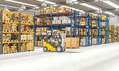 Interior 3d render of a warehouse with shelves full of goods and machinery at work. Logistics and sh poster