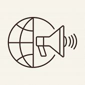 Global Marketing Line Icon. Globalization, Global News, Propaganda. Global Concept. Vector Illustrat poster