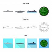 Vector Design Of War  And Ship Sign. Collection Of War  And Fleet Stock Symbol For Web. poster