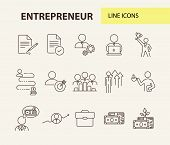 Entrepreneur Line Icon Set. Businessman, Investor, Manager. Business Concept. Can Be Used For Topics poster