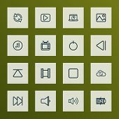 Multimedia Icons Line Style Set With Loudspeaker, Next, Start And Other Cloud Elements. Isolated Vec poster