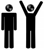 Stick Men Arms At Sides N Arms Up Globe Head poster