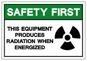 Safety First Equipment Produces Radiation When Energized Symbol Sign, Vector Illustration, Isolate O poster