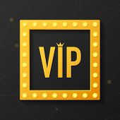 Golden Symbol Of Exclusivity, The Label Vip With Glitter. Very Important Person - Vip Icon On Dark B poster