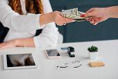 Do Business Online, Get Cash Salary. Female Extending Dollar Bills. Making Money On Internet. Income poster