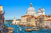 Grand Canal With Tourist Boats And Vaporetto In Summer, Venice, Italy. Romantic Water Trip In Venice poster