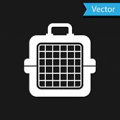 White Pet Carry Case Icon Isolated On Black Background. Carrier For Animals, Dog And Cat. Container  poster