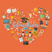 Education, Knowlege Icon Set In Heart Symbol In Flat Style Vector Illustration Over Orange With Socc poster