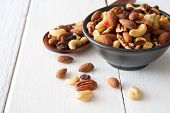 Mix Nuts And Dried Fruits Background And Wallpaper. Seen From Side View Of Mix Nuts And Dried Fruits poster