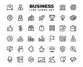 Business Line Icons. Finance Target Service Support Career Award Presentation Idea Strategy Solution poster