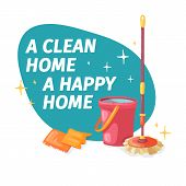 Template Banner With Mop And Bucket  For House Cleaning. Layout For Cleaning Service With Cleaning P poster