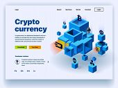 Crypto Currency Website. Cryptocurrency And Digital Money Technology Concept Vector Website. Website poster