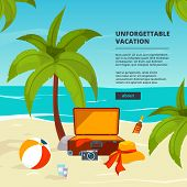 Background With Suitcases. Travel Illustrations In Cartoon Style. Summer Tourism, Suitcase On Sand B poster