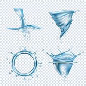 Water Splashes. Rain Drops Liquid Fluids Object Transparent Blobs Dynamic Water Whirlpool Vector Rea poster