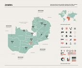 Vector Map Of Zambia.  High Detailed Country Map With Division, Cities And Capital Lusaka. Political poster
