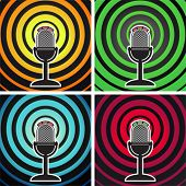 Retro microphone on the background of divergent waves. Vector set.