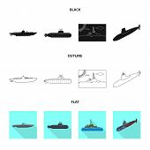 Isolated Object Of War  And Ship Logo. Set Of War  And Fleet Vector Icon For Stock. poster