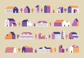Minimalism Town Buildings. Geometric Minimal Residential Houses, City Building And Urban House Flat  poster