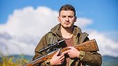 Man With Rifle Hunting Equipment Nature Background. Make Sure Safe Condition. Prepare For Hunting. W poster