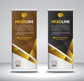 Roll Up Banner Template Vector, Banner, Stand, Exhibition Design, Advertisement, Pull Up, X-banner A poster