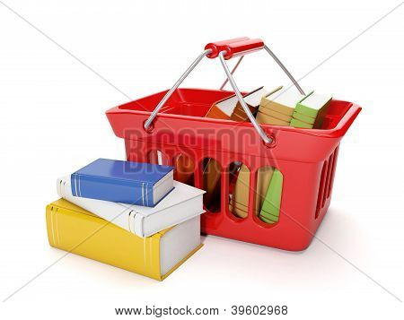 3D Illustration: Shopping For The Purchase Of Books And The Band On A White Background, Buying Books