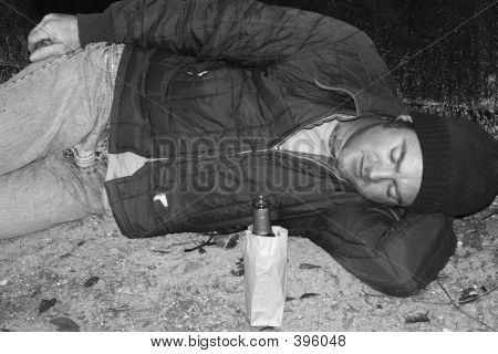 Homeless Man - Sleeping On Ground B&w