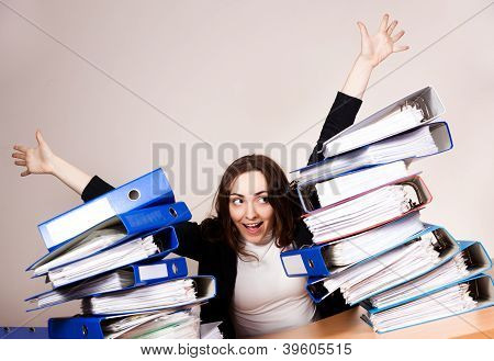 Happy Woman With A Lot Of Folders