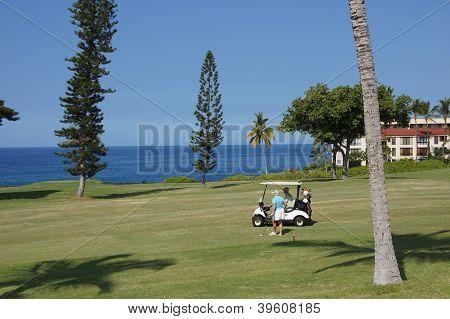 Unidentified Golfers Enjoy A Game Of Golf