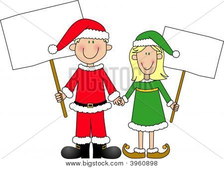 Boy And Girl Dressed For Christmas Holding Signs