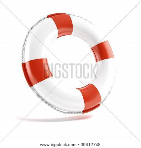 White lifebuoy isolated on white