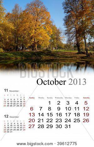 2013 Calendar. October.