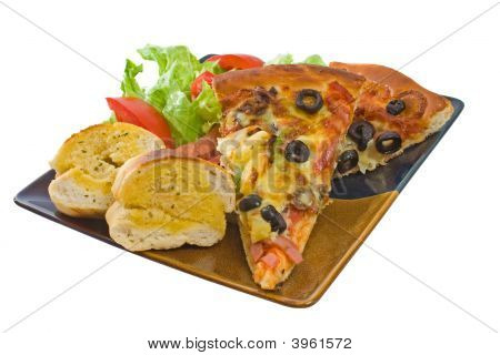 Plate Of Supreme Pizza And Salad