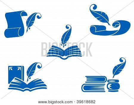 Books, Manuscripts And Feathers Icons