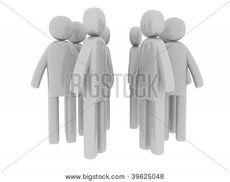 Gray men walking around