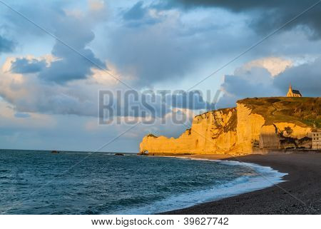beautiful etretat beach in seine maritime normandie france