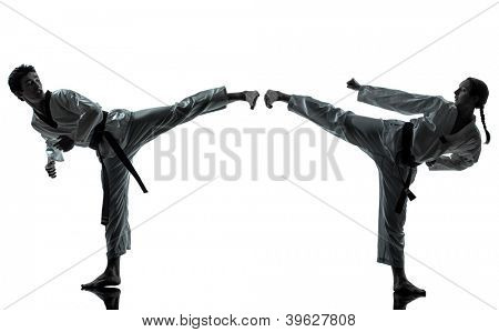 one couple man woman couple exercising karate taekwondo martial arts in silhouette studio isolated on white background