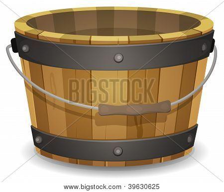 Cubo de madera de dibujos animados