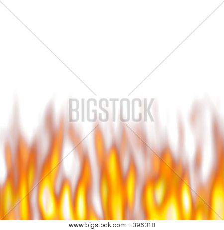 Hot Flames Over White