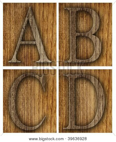Teak wood A-D blocks with letters