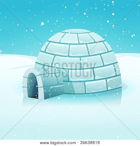Cartoon-Iglu in polar Winterlandschaft