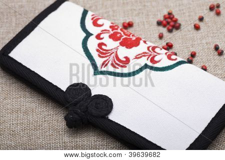 Canvas purse, traditional Chinese painting on it