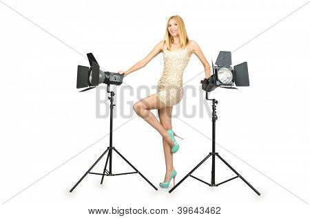 Attrative woman in photo studio