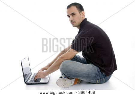 Male Busy With Laptop
