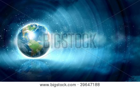 Earth symbol of the new year on our planet. Happy New Year and Merry Christmas. Elements of this image are furnished by NASA