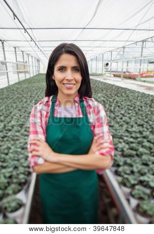 Greenhouse worker standing with arms crossed and smiling in greenhouse nursery